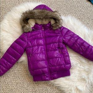 Girls justice purple puffer  hooded jacket